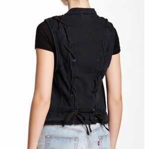 Free People Black Denim Back Lace Vest size small